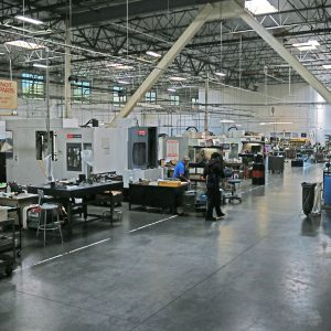 Looking from above, some of the machining centers can be seen.