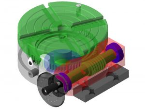 A ghost view of the rotary table drawn in SolidEdge